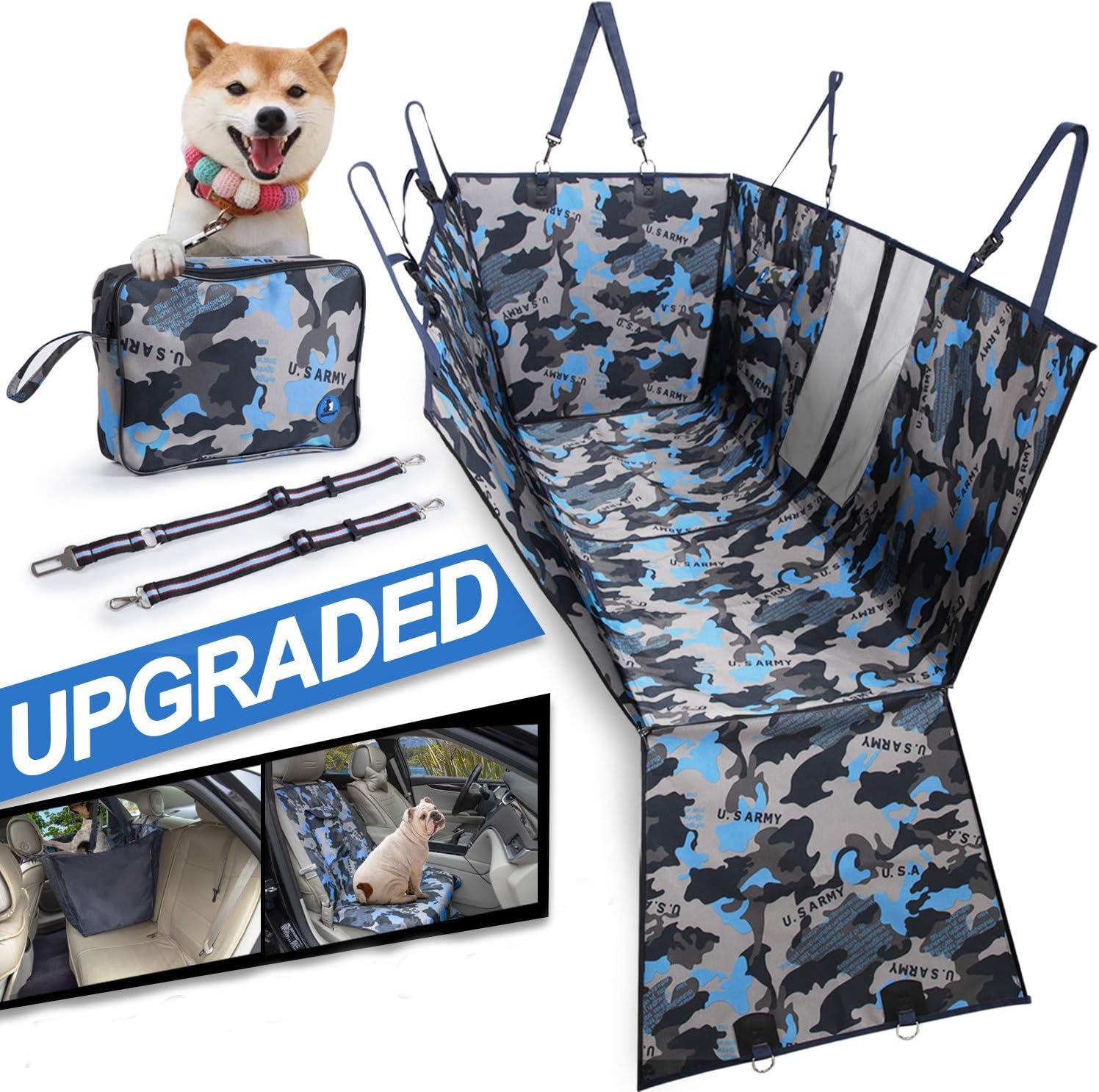 Baotung Hunde Autoschondecke Kofferraumschutz Mit Seitenschutz Tragetasche Und Gurte Wasserdicht Rutschfest Waschbar Blau Haustier