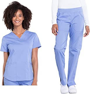 Cherokee Workwear Professionals Women's Scrub Set - WW665 V-Neck Top & WW170 Mid Rise Straight Leg Pull-on Cargo Pant