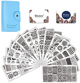Biutee 19pcs Nail Stamp Plates set 15 plate 1Stamper 2Scraper 1storage bag Nails Art Stamping Plate Scraper Stamper Set Leaves Flowers Animal Nail plate Template Image Plate