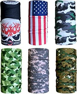 Cool 6pc Seamless Style Camo Bandanna Headwear Scarf Wrap Neck Gaiters - Pack of 6