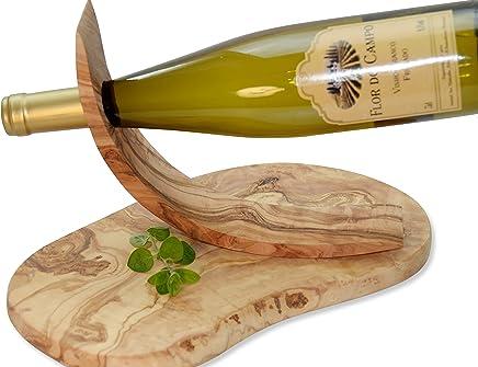 Preisvergleich für CONNAISSEUR! Olivenholz-Brett ORGANIC & Weinhalter VINO. Fein gemasertes Olivenholz. Holzbrett: Schneidebrett, Servierbrett oder Vesperbrett. Circa 30 x 18 cm. Weinflaschenhalter 26 x 8,5 x 5,7 cm.