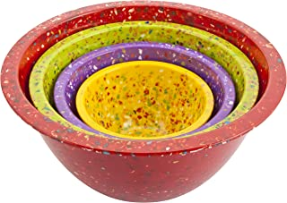 Zak Designs Confetti Mixing Bowl Set, Nesting Bowls for Space Saving Storage, Made with Durable Eco-Friendly Melamine, Gre...