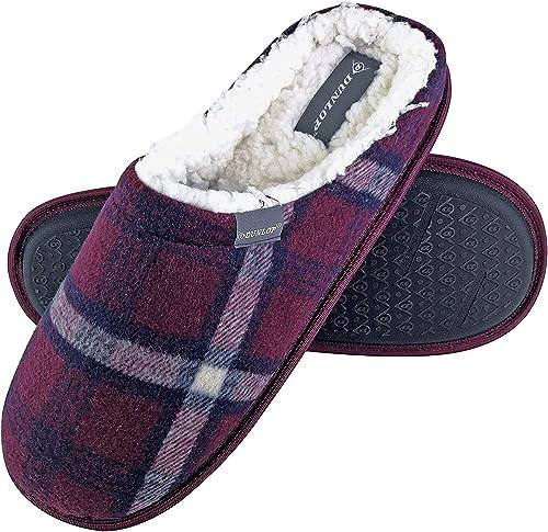 Dunlop Uomo Invernali Calde Termiche Pantofole Con Classiche Quadri Per Casa Amazon It Scarpe E Borse