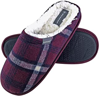 Dunlop - Mens Warm Plush Fleece Lined Slip On Mule Checked Plaid House Slippers