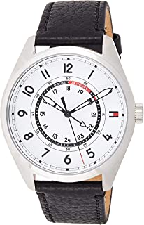 Tommy Hilfiger Men's Sport' Quartz Resin and Leather Casual Watch, Color:Black (Model: 1791373)