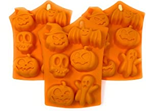 Halloween Silicone Mold Bundle: Includes 3 Halloween Molds: Pumpkins, Pumpkin with Witch Hat, Ghost, Skull, Bat for Candy,...