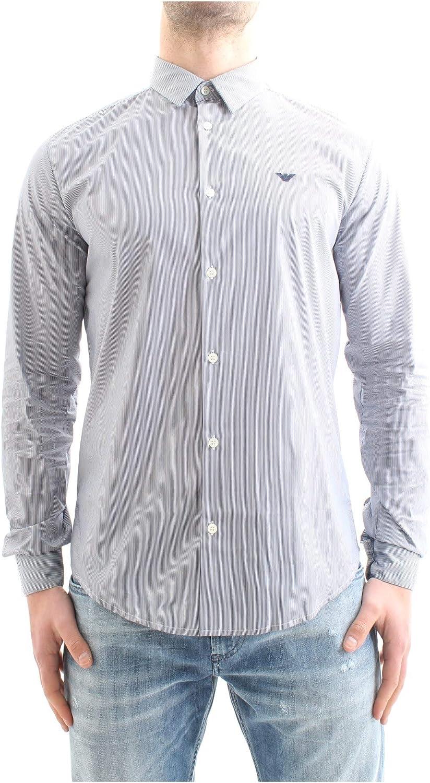 Armani Hombres Camisa de popelín de algodón del Estiramiento Raya Azul