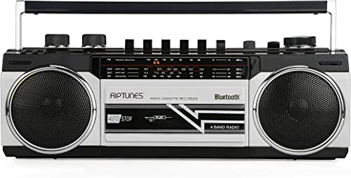 Riptunes Cassette Boombox, Retro Blueooth Boombox, Cassette Player and Recorder, AM/FM/SW-1-SW2 Radio-4-Band Radio, U...