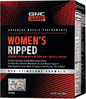 GNC AMP Women's Ripped Vitapak - 30 Packs, Non-Stimulant Formula That Supports Lean Muscle