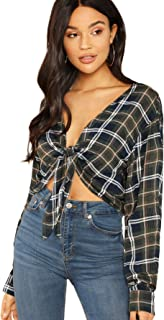 Women's Plaid Deep V Neck Long Sleeve Tie Front Crop Top Kimono Blouse