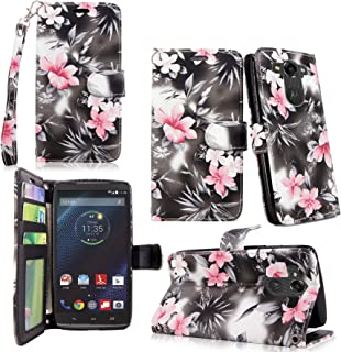 Motorola Droid Turbo / XT1254 Case - Cellularvilla Pu Leather Wallet Card Flip Open Pocket Case Cover Pouch For Motorola Droid Turbo / XT1254 (Black Pink Flower)