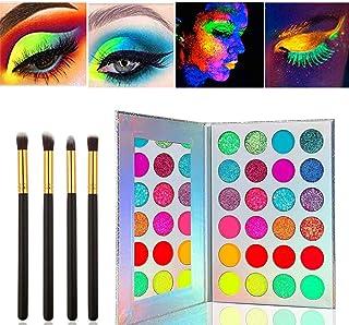 Kalolary Neon Luminous Eyeshadow Palette, UV Glow Blacklight Matte en Sparkling Eyeshadow Glows In The Dark, 24 Kleuren St...