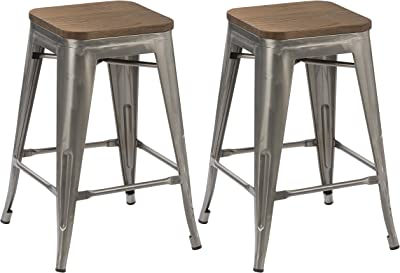 Fabulous Amazon Com Dhp Fusion Metal Backless 30 Bar Stool With Ibusinesslaw Wood Chair Design Ideas Ibusinesslaworg