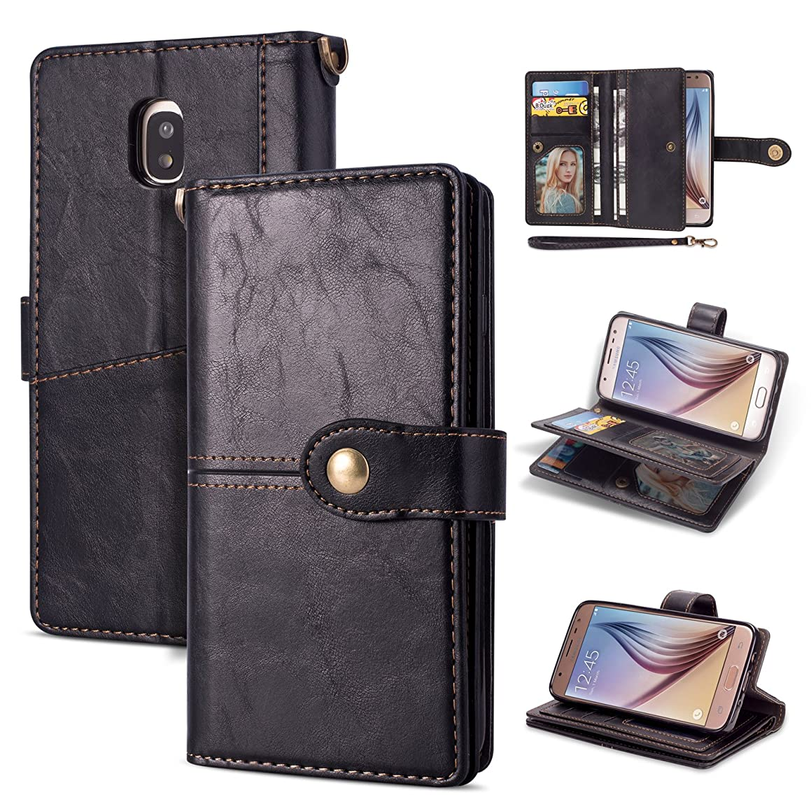 Galaxy J7 2018/J7 Aero/J7 Top/J7 Refine/J7 Star/J7 Crown/J7 Aura Case,AMASELL Retro Multifunctional Premium PU Leather Case with Card Slot & Wrist Strap Carrying Folio Flip Cover for J7 2018,Black