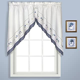 United Curtain Gingham Embroidered Swags, 60 by 38-Inch, Blue, Set of 2