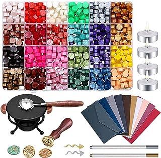 Cire a Cacheter Kit Cachet de Cire Tampon Cire Lettre Rétro Seal Wax Kit, pour Timbre de Sceau de Cire Vintage Lettre Post...