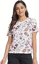 JUNEBERRY Cotton Regular Fit Printed T-Shirt for Women