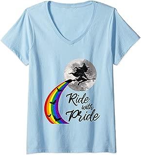 Womens Gay Witch Pride Lesbian Halloween Costume For Men Women LGBT V-Neck T-Shirt
