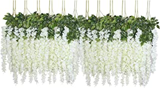 U'Artlines 24 Pack 3.6 Feet/Piece Artificial Fake Wisteria Vine Ratta Hanging Garland Silk Flowers String Home Party Wedding Decor (24, White)