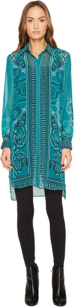 Versace Collection - Printed Long Sleeve High-Low Button Up