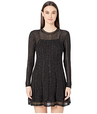 M Missoni Long Sleeve Short Dress with Mini Pailettes (Grey/Black) Women