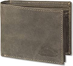 WOODLAND ® PORTAFOGLIO compatta con 18 tasche carte in pelle di bufalo in marrone chiaro