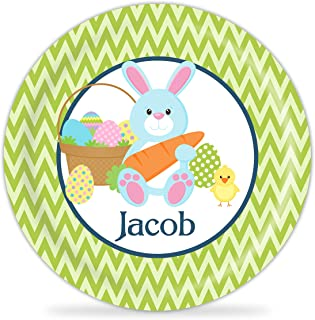 Kids Easter Plate - Green Chevron, Blue Easter Bunny Melamine Personalized Plate