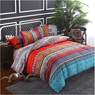 CCoutueChen Bohemian Comforter Cover Mandala Boho Bedding Duvet Cover Sets Thick Soft Bedclothes Plain Twill Striped Hypoallergenic Microfiber with Pillow Quilt Coverlet (3pcs, 90