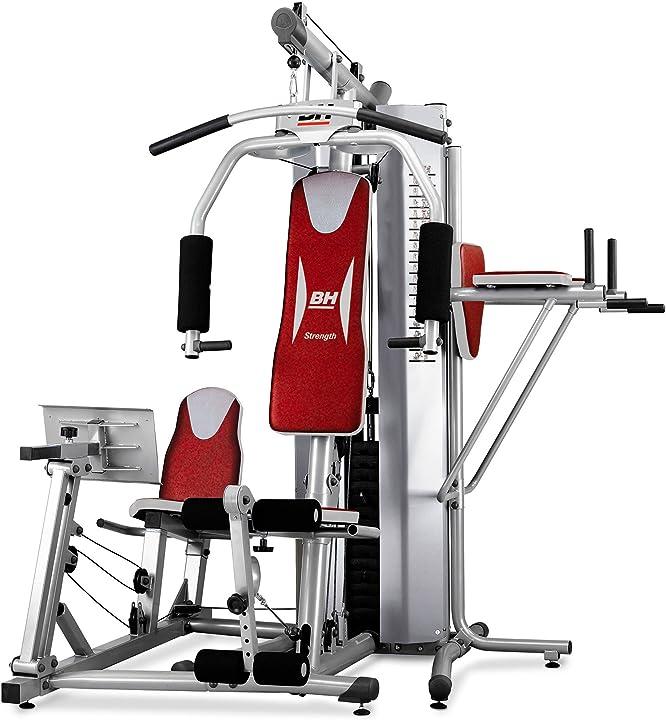 Multistazione di allenamento con leg press, flessore addominale e barra trazioni bh fitness global gym g152x
