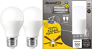 MiracleLED 606542 Rough Service LED Energy Saver Household Light Replacing Old, Hot 60W Incandescent Bulbs, Bright White, 2 Piece