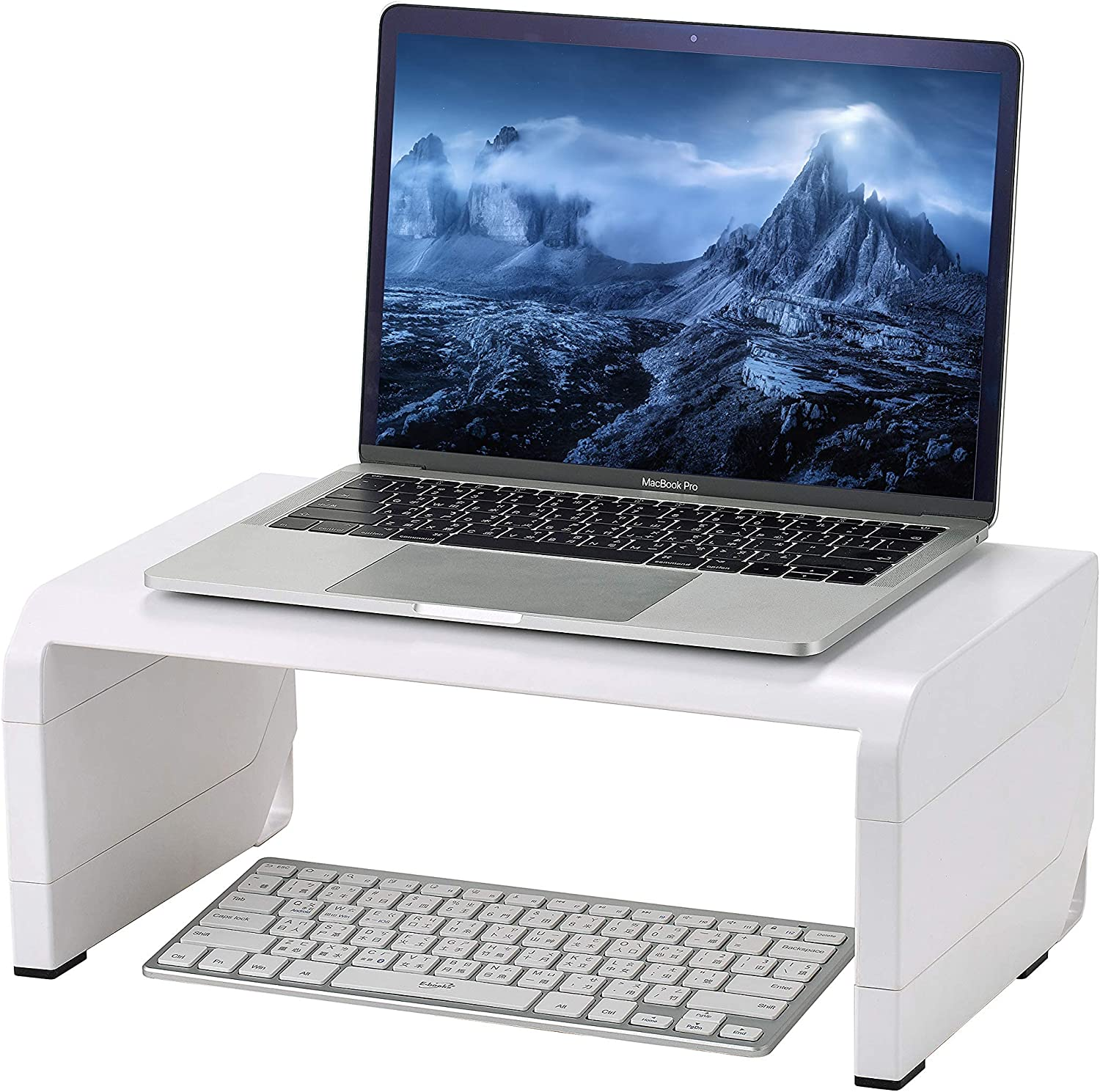 Konnect Adjustable Monitor Stand Riser, Rubber Feet (White)