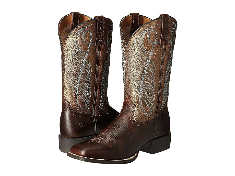 Ariat Round Up Square Toe (Yukon Brown/Bronze) Cowboy Boots