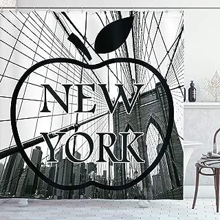 Ambesonne Americana Shower Curtain for Apartment Home Decor, Cityscape NYC Big Apple I Love New York City View Manhattan Brooklyn Modern Art Prints Fabric Bathroom Set, Black and White