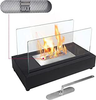 ATR ART TO REAL Upgrades Rectangle Tabletop Bio Ethanol Fireplace Indoor Outdoor Fire Pit Portable Fire Bowl Pot Fireplace in Black, Realistic Burning
