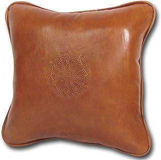 ALMADIH Coussin en cuir véritable avec rembourrage 35 x 35 cm marron cognac - 100% Artisanat fait main - Coussin Canapé dé...