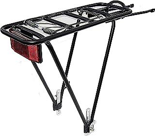 BIRIA Bike Rear Rack, Black, Aluminum 2 Leg Rear Bike Rack with Spring, Reflector Included