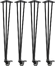 4x Natural Goods Berlin Hairpin Legs 'n'Roll | beweegbare haarspeld tafelpoten oprolbaar | tafelframe op wieltjes, tafelon...