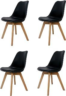 La Silla Española Salou, sillas de estilo nórdico, asiento en simil piel y patas en madera, negro, 47x42x83 cm, 4 unidades