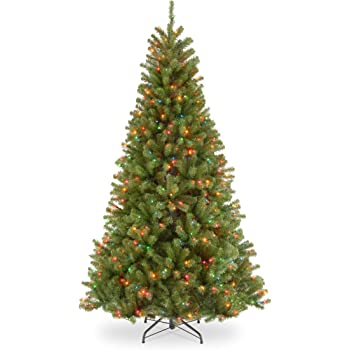 National Tree Company Pre-lit Artificial Christmas Tree | Includes Pre-strung Multi-Color Lights and Stand | North Valley Spruce - 7.5 ft