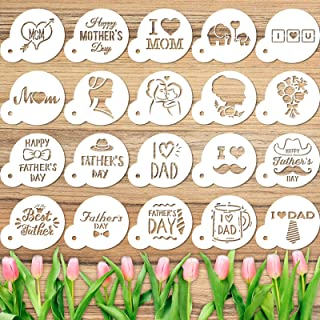 20 Pieces Mother's Day and Father's Day Cookie Stencil Set Reusable Cake Baking Templates for Cookie Cupcake Fondant DIY C...