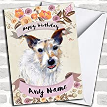 Rustic Gold Dog Jack Russell Personalized Birthday Card