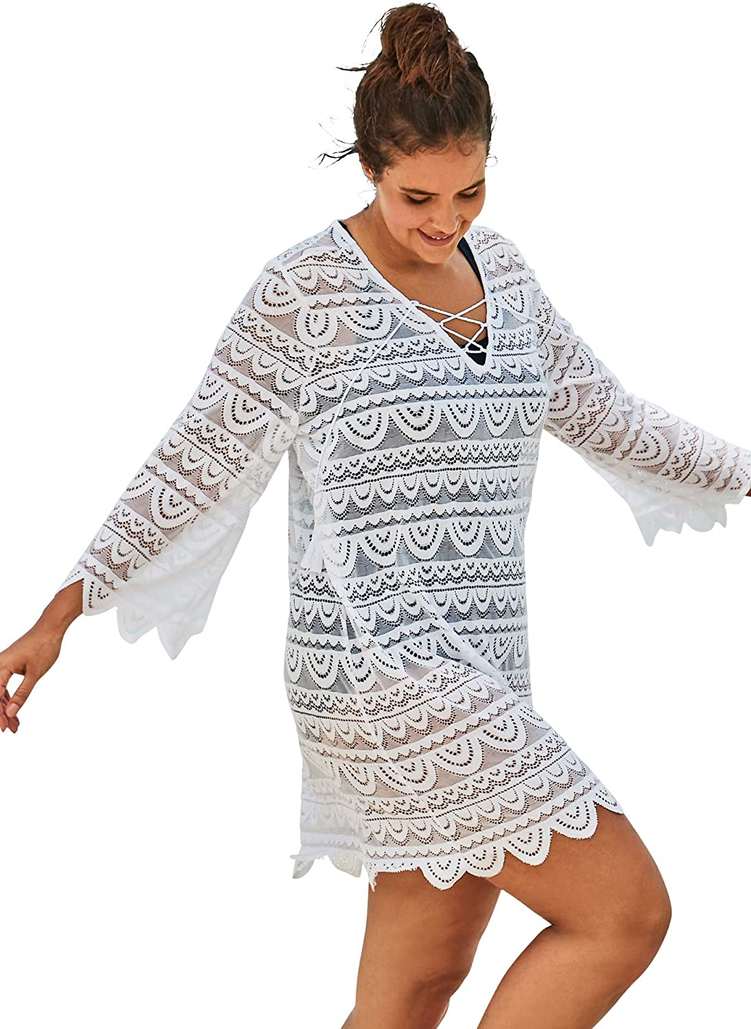 Swimsuits For All Women's Plus Size Scallop Lace Cover Up Swimsuit Cover Up