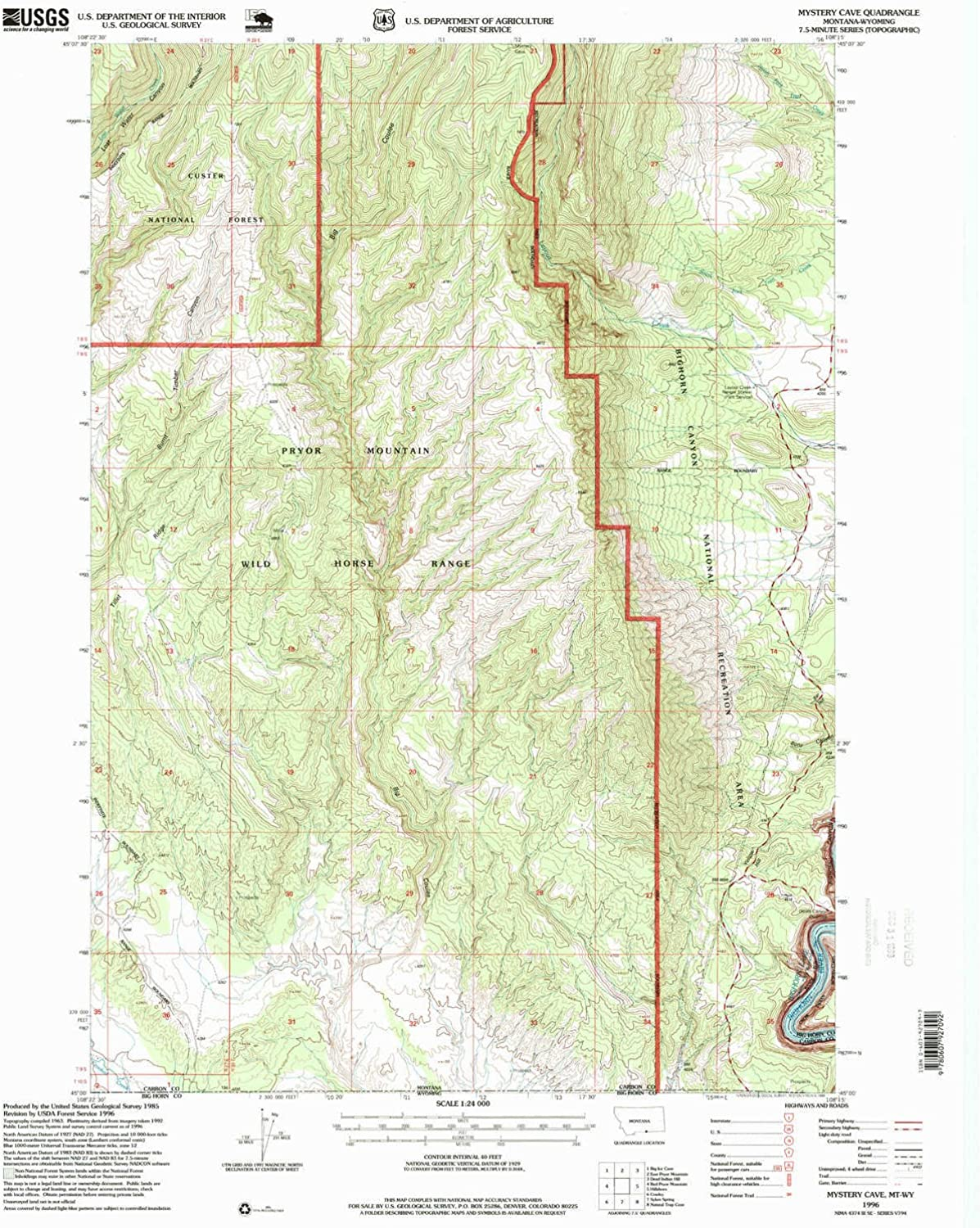 Mystery Cave MT topo map, 1 24000 Scale, 7.5 X 7.5 Minute, Historical, 1996, Updated 1999, 26.8 x 22 in