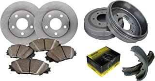 Front OE Spec Quiet Technology Rotors and Premium Semi Metallic Pads featuring Triple Layer Wolverine Shims & Rear OE Spec Quiet Technology Drums and Perfect Fit Premium Brake Shoes BK40006M | Fits: R