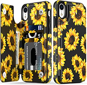LETO iPhone XR Case,Leather Wallet Case with Fashionable Flower Designs for Girls Women,Flip Folio Cover with Card Slots Kickstand,Protective Phone Case for iPhone XR Blooming Sunflowers