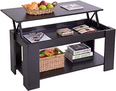 Basicwise Modern Wood Coffee Table with Lift Tabletop, Black,
