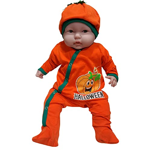 TenTeeTo Baby First Halloween Outfit for Infants with Pumpkin Smiling Face