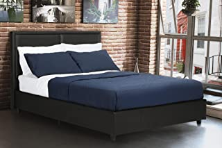 DHP Bridgeport Upholstered Faux Leather Platform Bed with Wooden Slat Support, Queen Size - Black