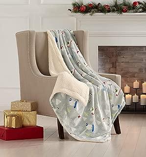 Super Soft Fleece Sherpa Holiday Throw Blanket - Cozy, Warm Grey Polar Bear Design Blanket. Eve Collection (50