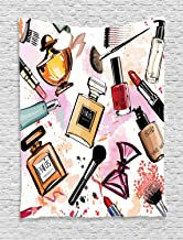 Ambesonne Fashion Tapestry, Cosmetic and Makeup Theme Pattern with Perfume Lipstick Nail Polish Brush Modern, Wall Hanging for Bedroom Living Room Dorm Decor, 40
